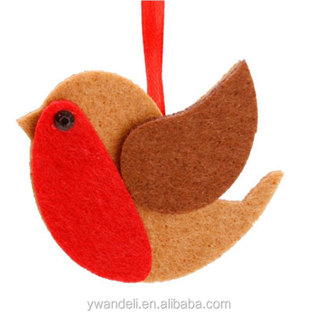 set 2 felt hanging red robin bird for xmas christmas tree decorations accessories - Is Red Robin Open On Christmas