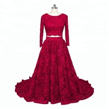 Two Piece Red Long Sleeve High Neck Wedding Dresses