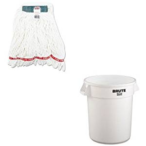 KITRCP2620WHIRCPA21206WHI - Value Kit - Rubbermaid-White Round Brute Container 20 Gallon (RCP2620WHI) and Rubbermaid Web Foot Shrinkless Looped-End Wet Mop Head (RCPA21206WHI)