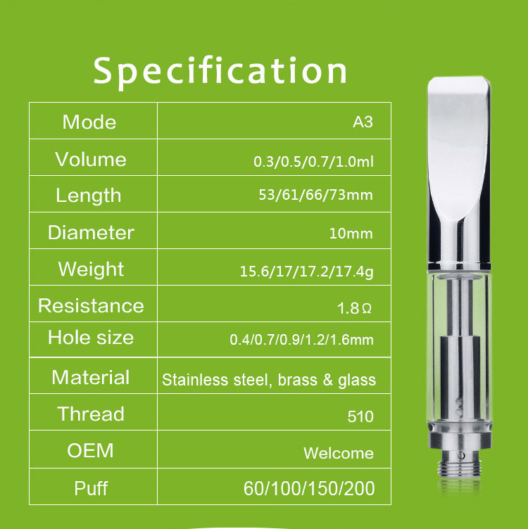Transpring vaporizer vape pen cartridges 510 glass cbd vape pens