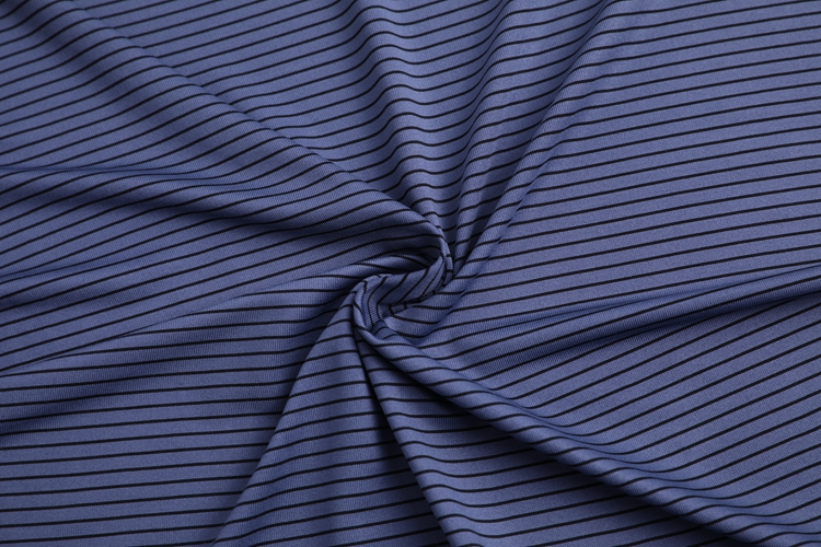 polyester spandex blend yarn dyed stripe jersey knit fabric