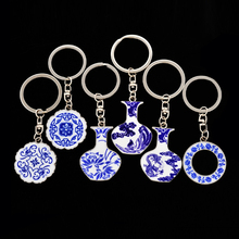 Sublimation enamel epoxy paint jewelry flower vase ceramic keychain, green flower blue and white porcelain chinaware key chain