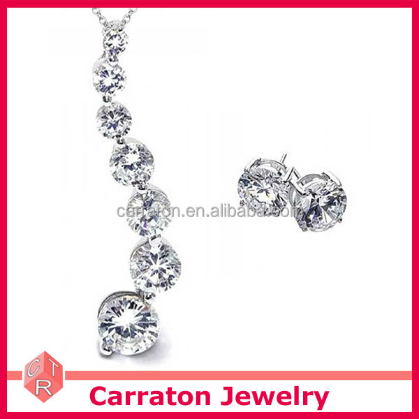 new arrival wholesale 925 pure silver AAA grade zircon love journey pendant earring set