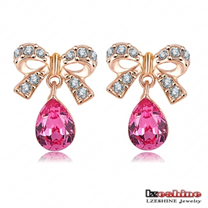Stylish Earring Jewelry Factory Price Bowknot18K Rose Gold Plated WaterDrop Shaped Austrian Crystal Alloy Stud Earrings ER0160-A