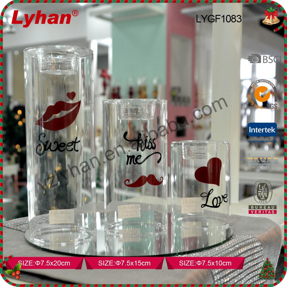 hot sale clear glass candle holder with tea light for lover
