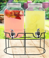 2019 Best Selling 1 gallon Glass Mason Jar Double Beverage Drink Dispenser On Metal Stand With Leak Free Spigot