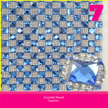 Hot Fix Glass Rhinestone Sheet 10x10mm Square Sapphire Crystal mix 2mm Round Crystal