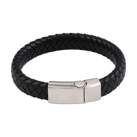 bangle-44 xuping fashion leather knot Stainless Steel Jewelry men bangle