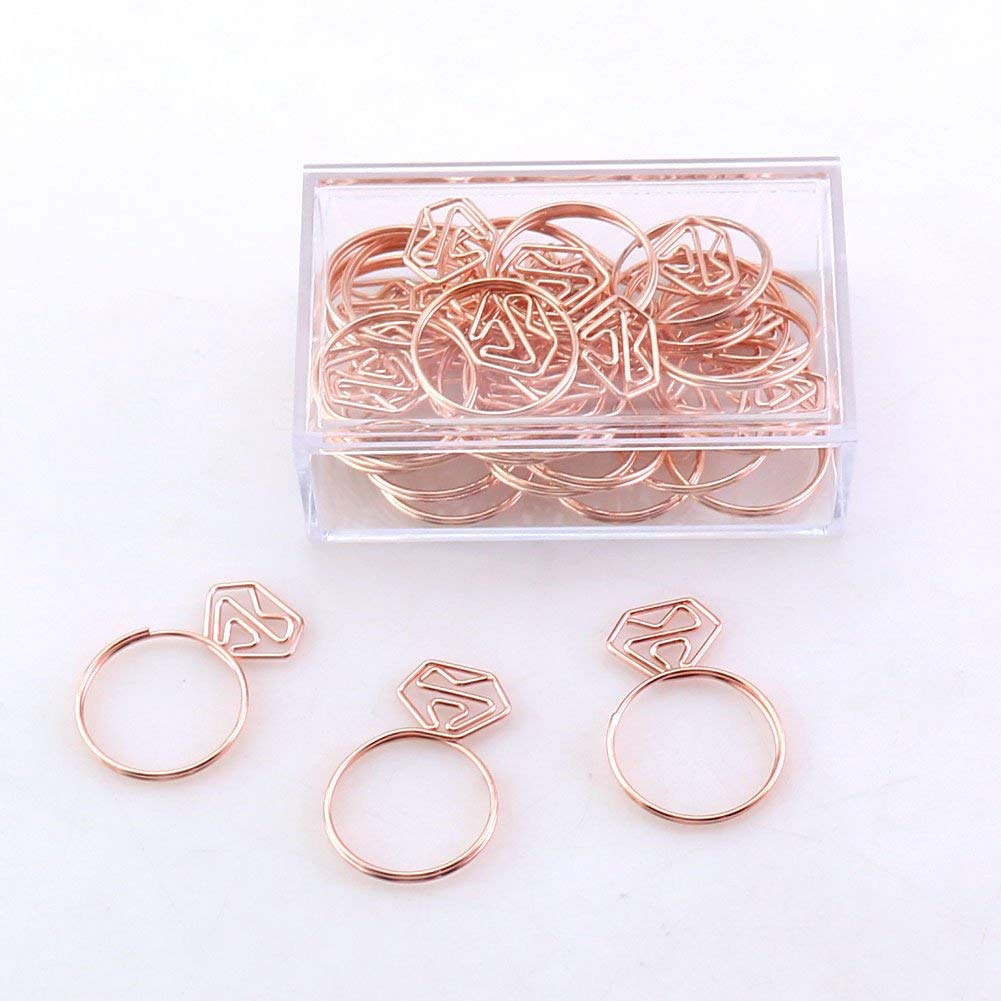 OUTU 30pcs/box Rose gold COLOR Plastic Shape Paper Clips Funny Bookmark Marking Clips H0029 (electroplate diamond ring)