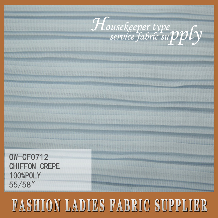 new popular style plain dyed one hundred percent polyester chiffon crepe fabric