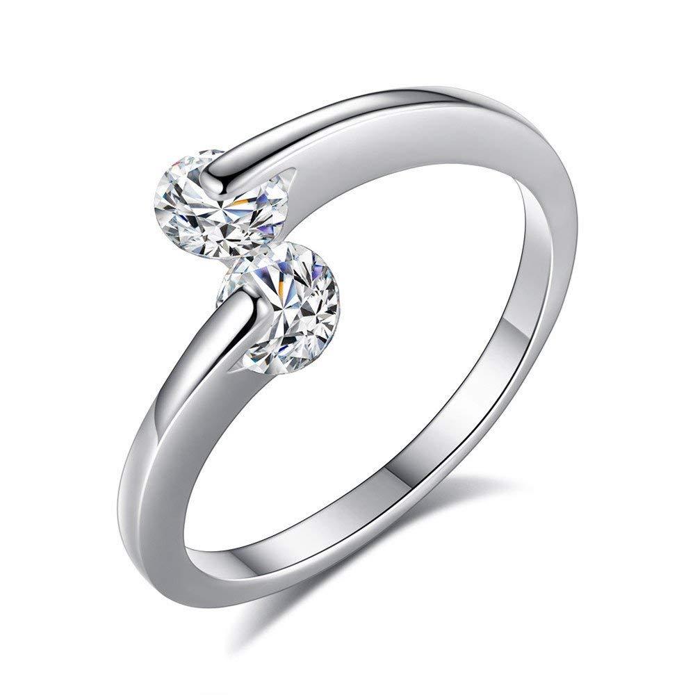 Fashion Ring, Hoshell 1PC Elegant Beautiful Fashion Women Silver Plated Crystal Bridal Engagement Ring