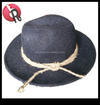 acb9cfa725d black mixed gray wool traditional German hat Bavarian hat with rope ...