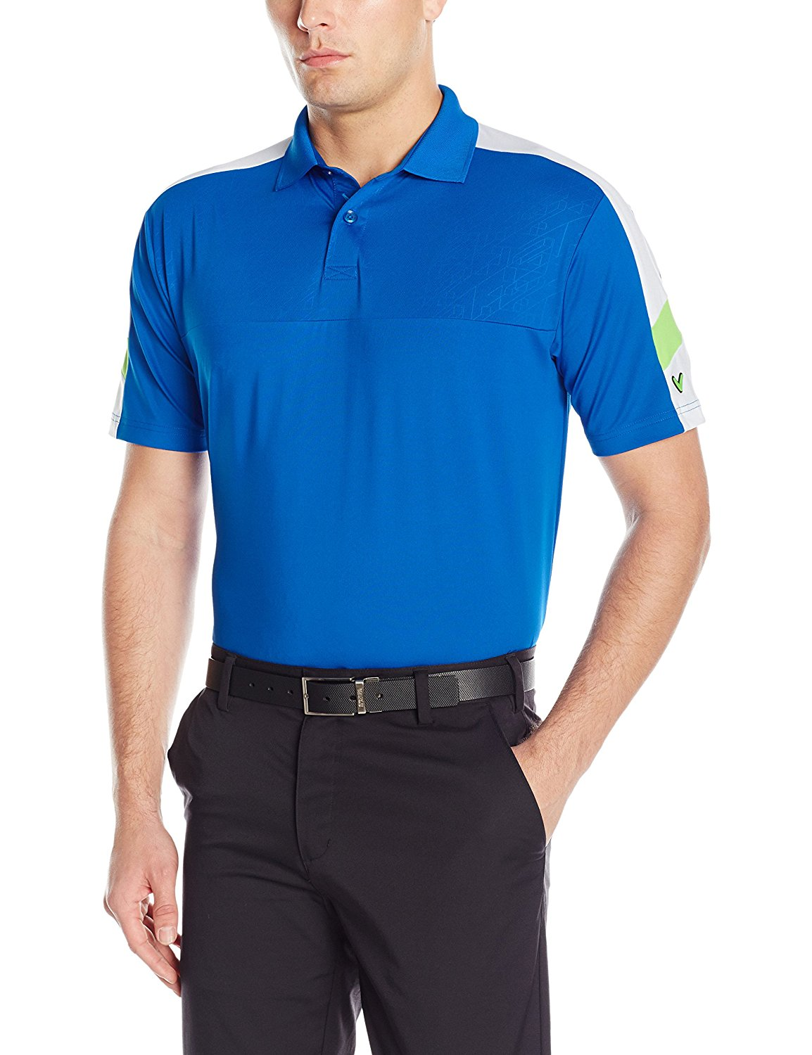 Callaway Men's Golf Performance Short Sleeve Embossed Three Color Blocked Polo Shirt