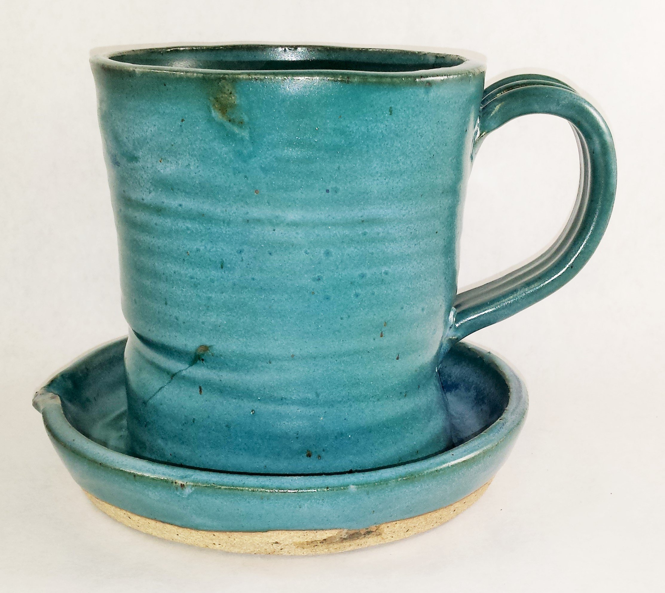 Aunt Chris' Pottery - Heavy Hand Made - Clay Bacon Cooker - Primitive Teal Color Glazed - Unique New Way of Cooking Bacon