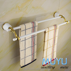 stainless steel +zinc gold plating double towel bar, acrylic towel bar