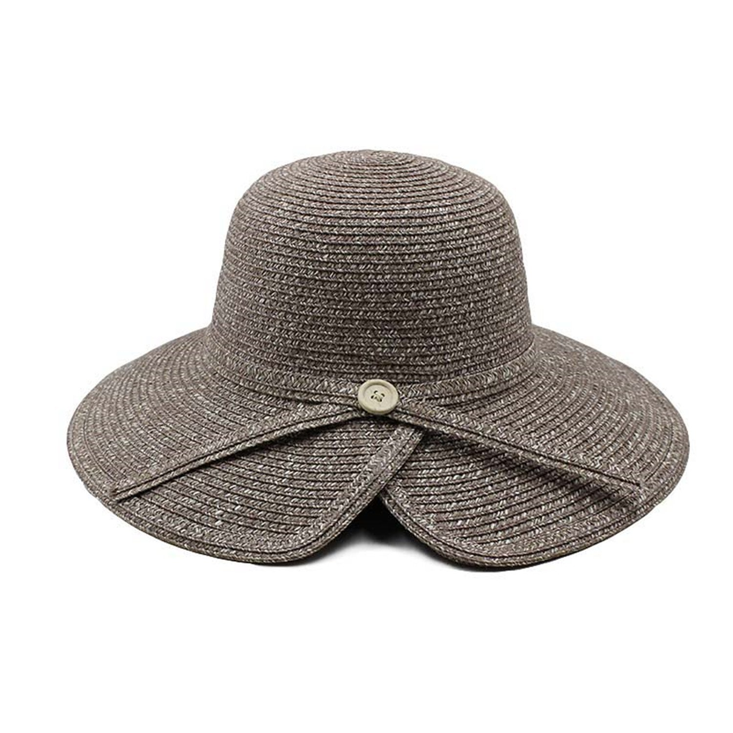 Gail Jonson Women Sun Hat Summer Straw Caps Fashion Lady Big Fedoras Hats with Button Paper Adult Casual Caps