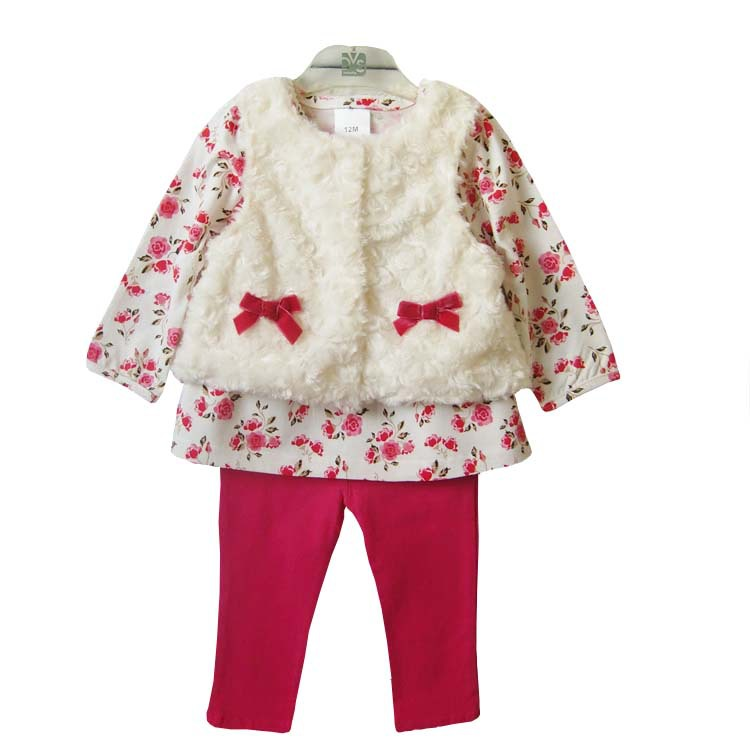 Spring 3pcs baby sets new 2019 fashion brand Girls flower baby clothes bow suits baby girl suit clothing sets