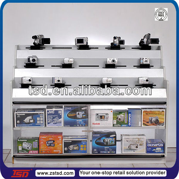 TSD-W173 custom deisgn retail shop camera display cabinets/white mdf shop counter/department store display racks