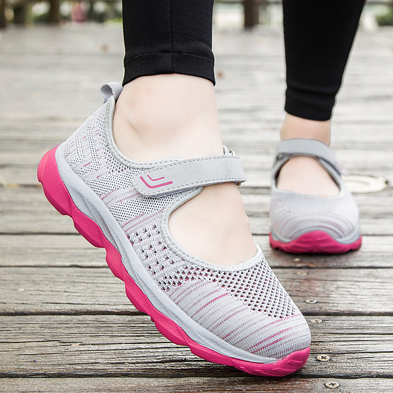 2019 Summer Fashion Women Flat Woman Breathable Mesh Casual workout pink Sneakers Moccasin Zapatos Mujer Ladies Boat Shoes