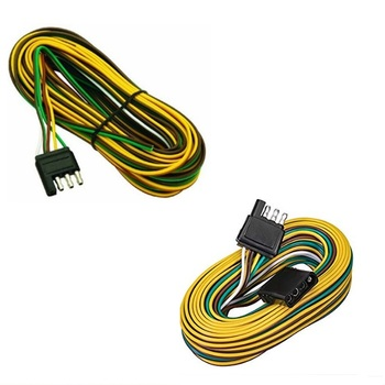 4-way Flat Wishbone-style Trailer Wiring Harness Kit18 Awg Color Coded Wires  4 Flat Connector For Under Or Over 80