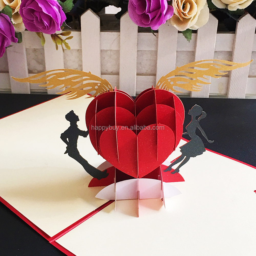 Beautiful Red Heart Creative 3d Pop Up Wedding Invitation Greeting Card Laser Cutting Valentine S Day Card Buy Laser Cut Wedding Invitation