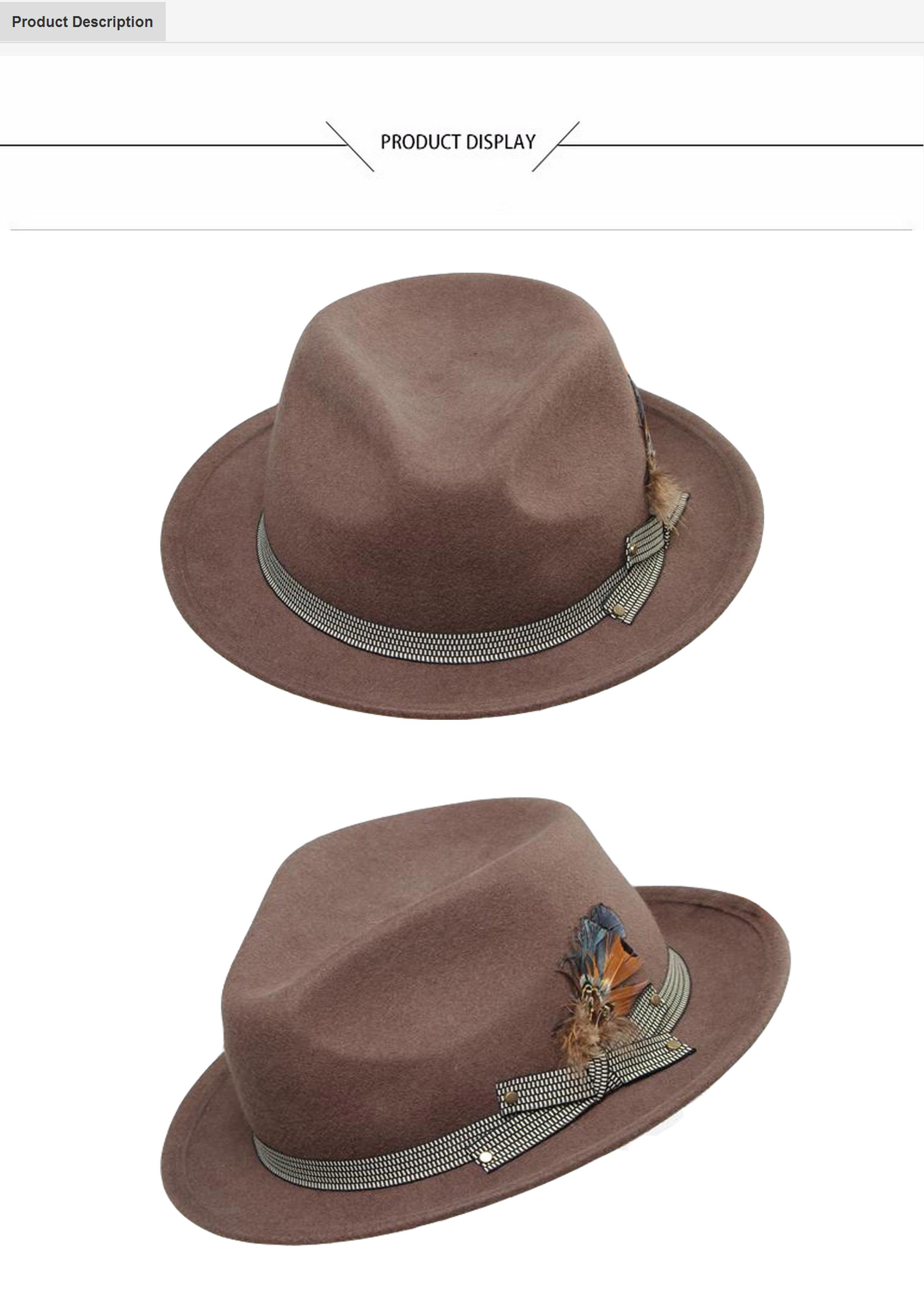 223f0417b51 Woolen Hat with Feather   Ribbon Decoration Classical Style Men s Fedora Hat