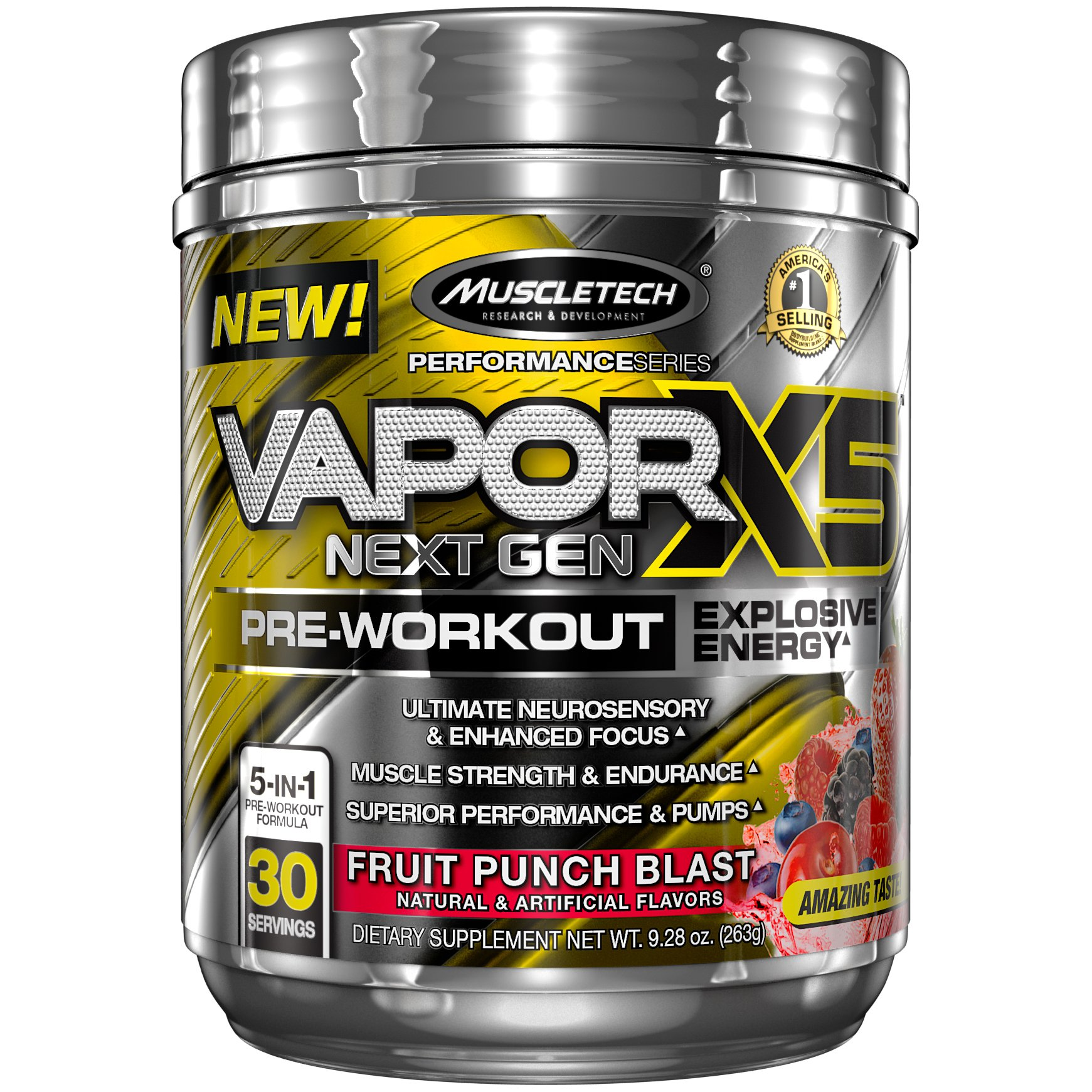 MuscleTech Performance Series Vapor X5, Next Gen Pre-Workout Powder, Fruit Punch Blast, 30 Servings