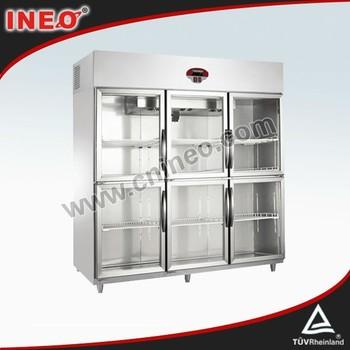 Vertical Stainless Steel Supermarket Fridge/Double Door Coke Fridge/Glass  Door Fridge
