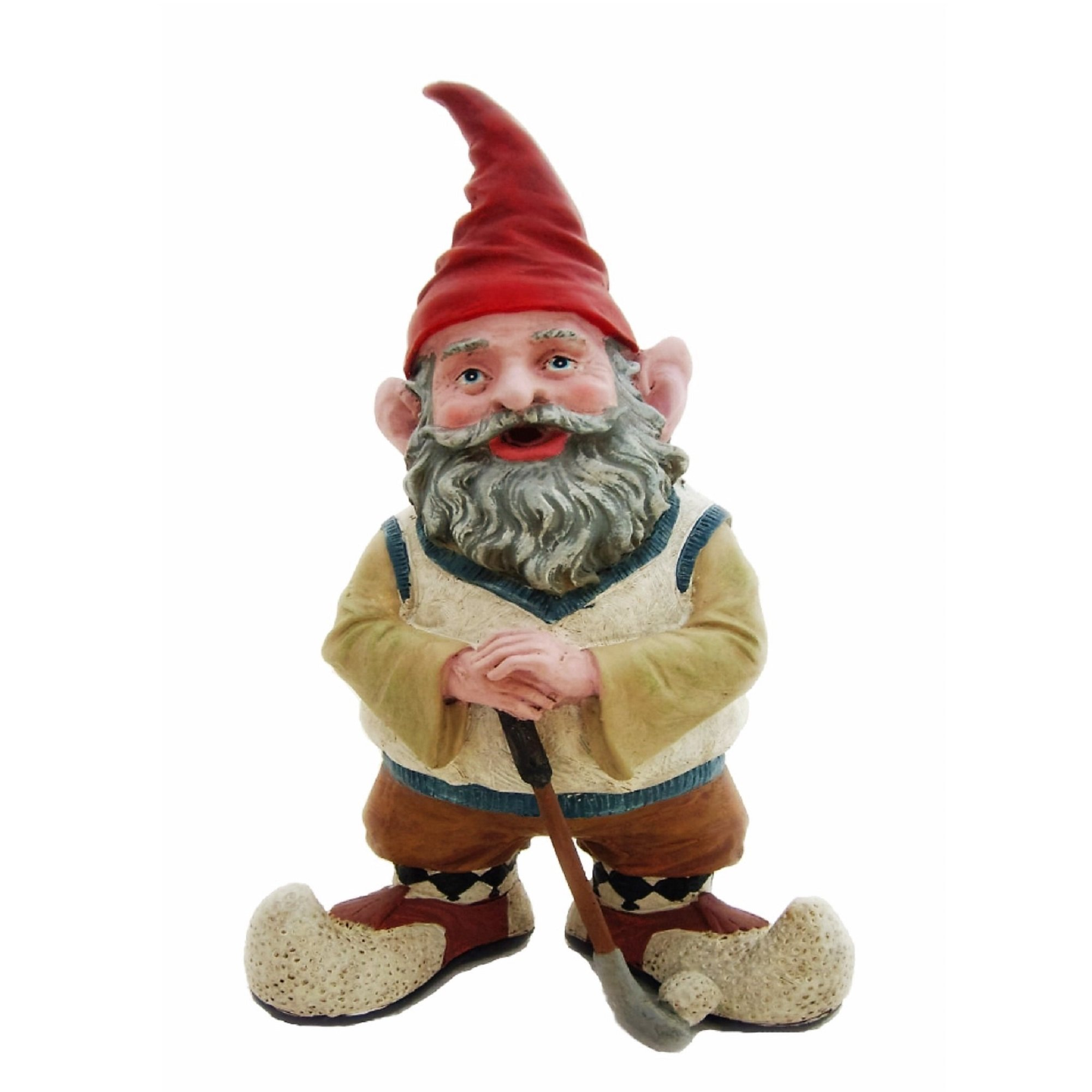 """Nowaday Gnomes Greg the Golfer Gnome Holding a Golf Club & Golf Ball Home & Garden Gnome Statue 14"""" H"""
