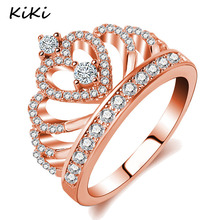 >>>2017 Female Crown Ring AAA Zircon Cz Copper Rose Gold Engagement wedding Band Ring For Women