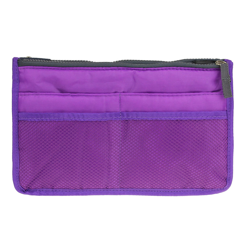 Bao Core / BXT Double Zipper Multi Pockets Travel Cosmetic Bag Makeup Wash Toiletry Bag Case Pouch Bathroom Organizer (Purple)