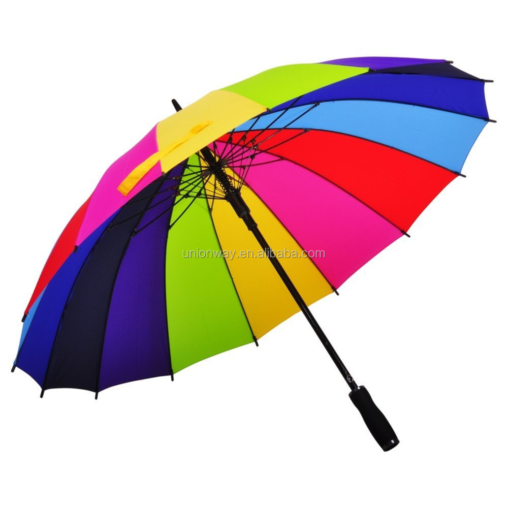 16 ribs straight rainbow golf umbrella