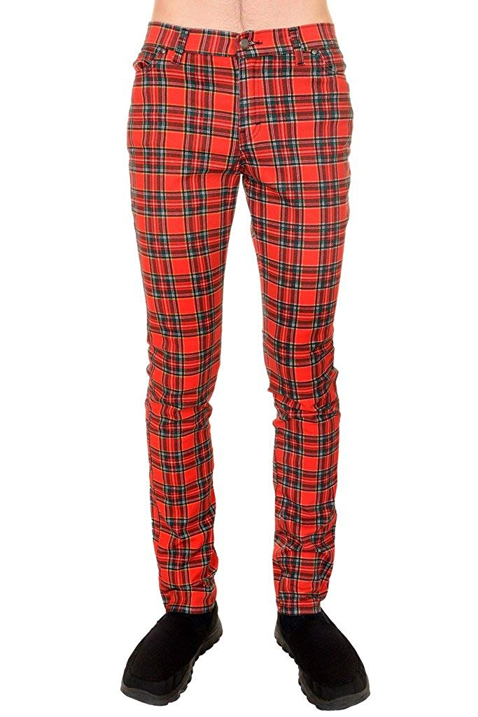 bb0e1f45 Get Quotations · Mens Indie Vintage Retro 60s 80s Mod Punk Red Tartan  Skinny Jeans