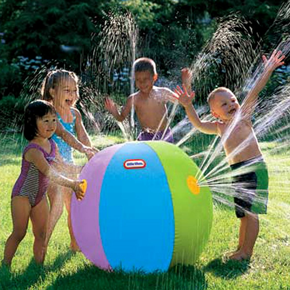 Hiltow Inflatable Water Spray Ball Outdoor Fun Toy for Hot Summer Swimming Party Beach Pool Play Children Kids Beach Ball Sprinkler