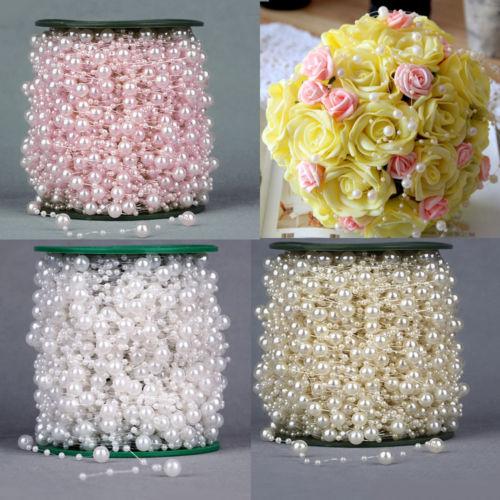 White Pearl Beads Strand Garland Acrylic Wedding Pearl: 10M White/Ivory Pearl Beads String Garland Wedding