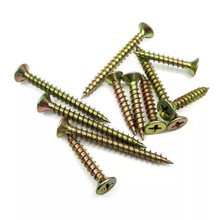 Yellow Zinc Cross Flat Head Wood Use MDF 칩 보드 Screws
