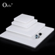 Oirlv Clear Board White Acrylic Block Ring Necklace Bracelet Display Holder Stand Set Jewelry Display Stand