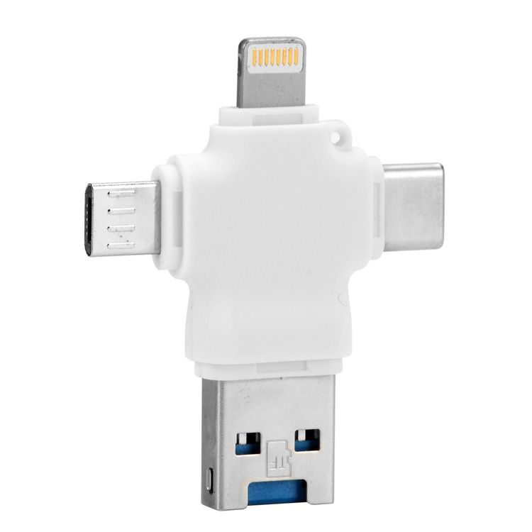 Custom 8gb 16gb 32gb 64gb USB3.0 Flash Drive 4 in 1 OTG universal U disk for Apple/Type-C/Android/PC