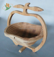 Eco-friendly apple shaped foldable convenient bamboo gift basket picnic basket
