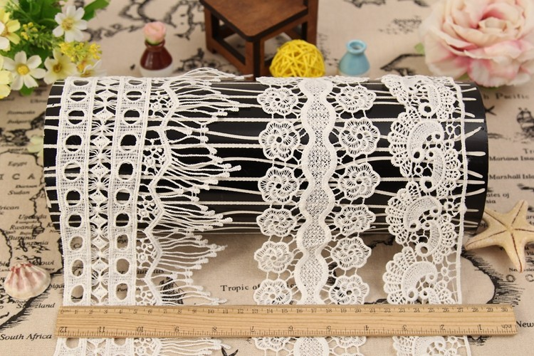 Textile wholesaler polyester water soluble embroidery crochet border french bridal lace trim