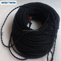 1 roll selling black wire decolative fabric twisted textile electrical cord