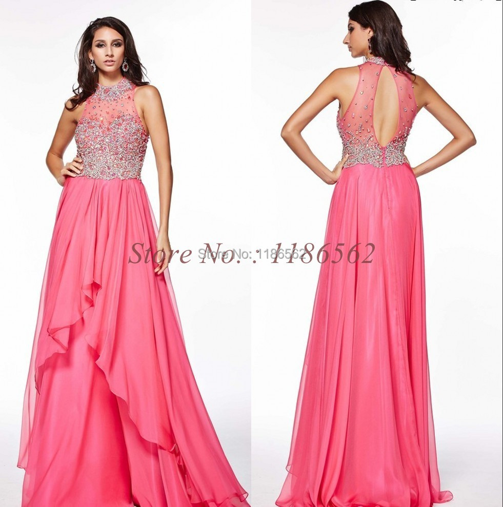 Beautiful High Neck Chiffon Long Party Dress Crystals Open Back Beaded Coral Prom Dreses 2015 New Arrival