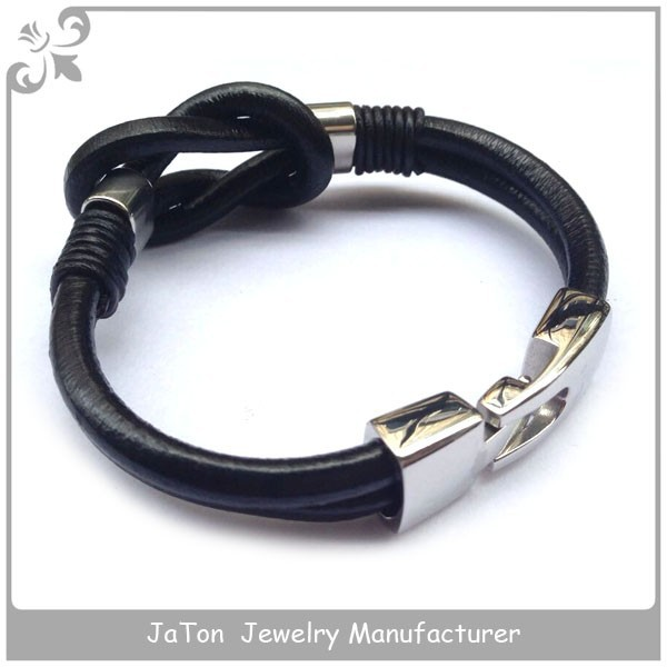 Hook Steel Clasp and Leather Infinity Bracelet Wholesale