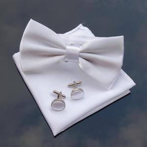 Wholesale Cheap Solid White Bow Ties Wedding Custom Logo Satin Bowties Sets with Hanky Bowtie for Men's Accessories