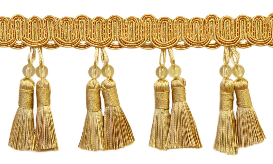 "DecoPro Elegant 4"" Long Medium and light Gold Beaded Tassel Fringe Style# BTFH4 - Golden Rays 4875 (Sold by The Yard)"