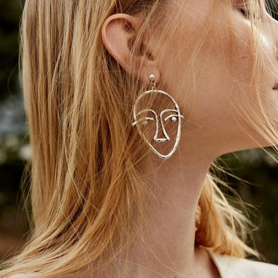 Fashion New Gold Silver Color Hollow Face Dangle Earrings for Women Drop Jewelry 2017