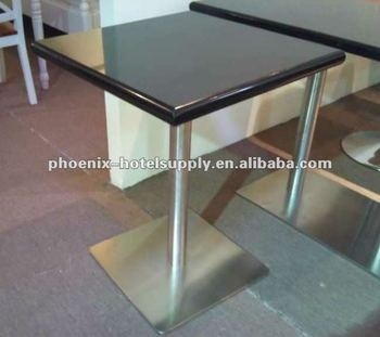 Restaurant Table With Granite Table Top, Stainless Steel Base
