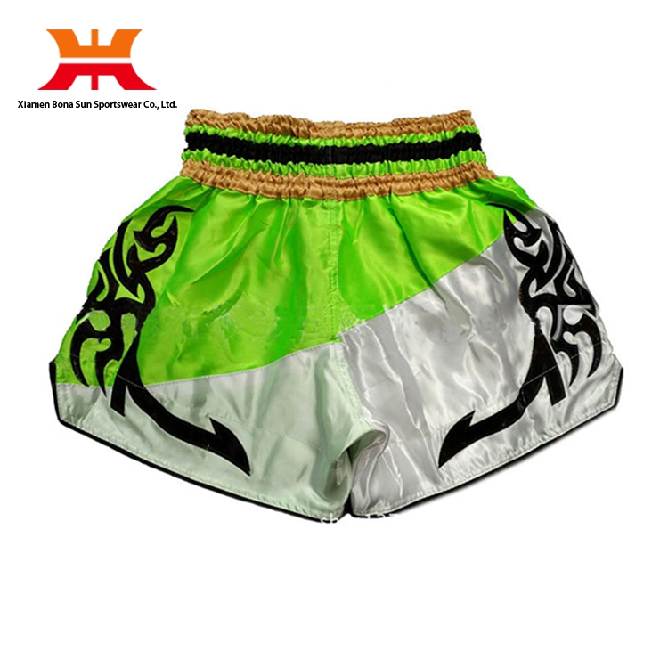 Customized Green Red Pink Polyester Stain Man Grapple Muay Thai Boxing Shorts