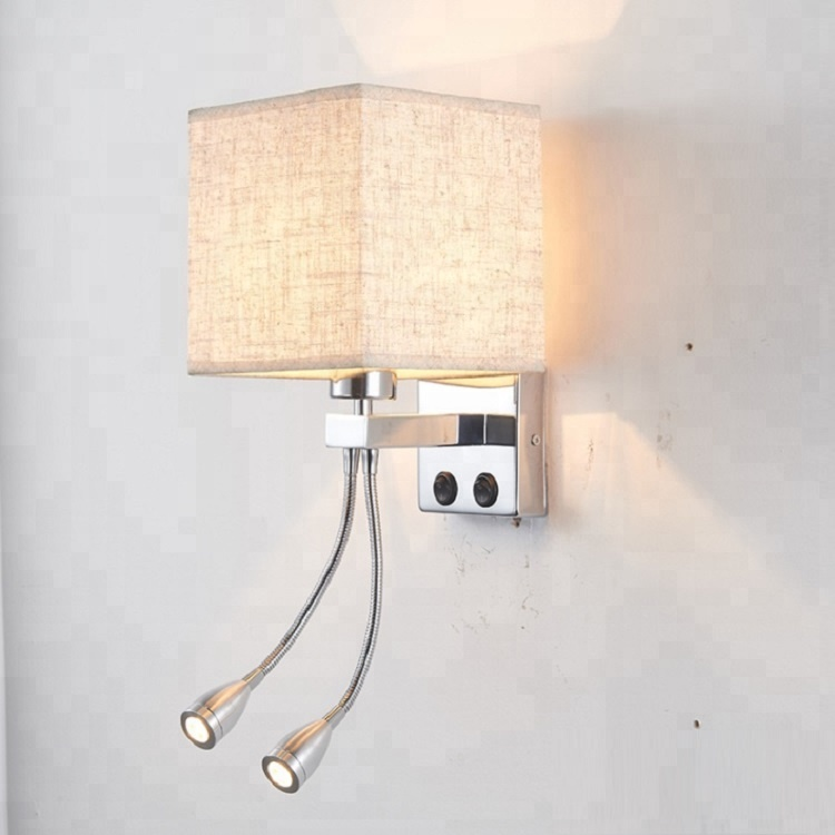 Hotel bedroom wall light led reading bedside bracket lamp with adjustable beam