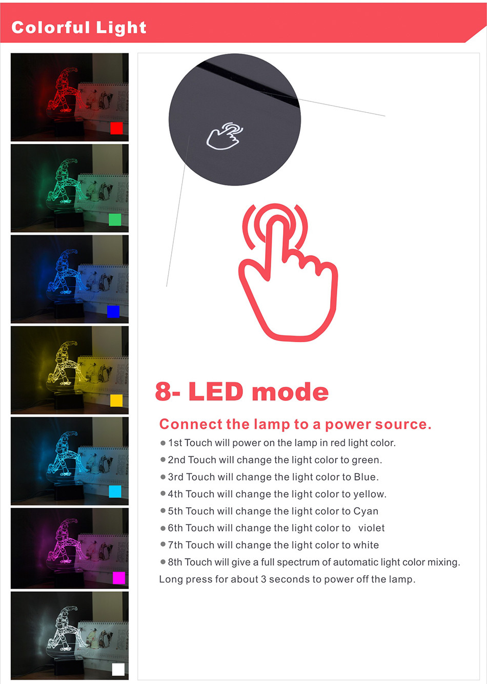 iron Man Seven Colors LED RGB Table Lamp Christmas Light  (2)